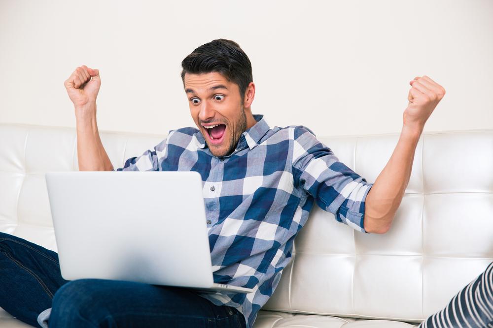 Man interacting in virtual corporate event held by Teambonders